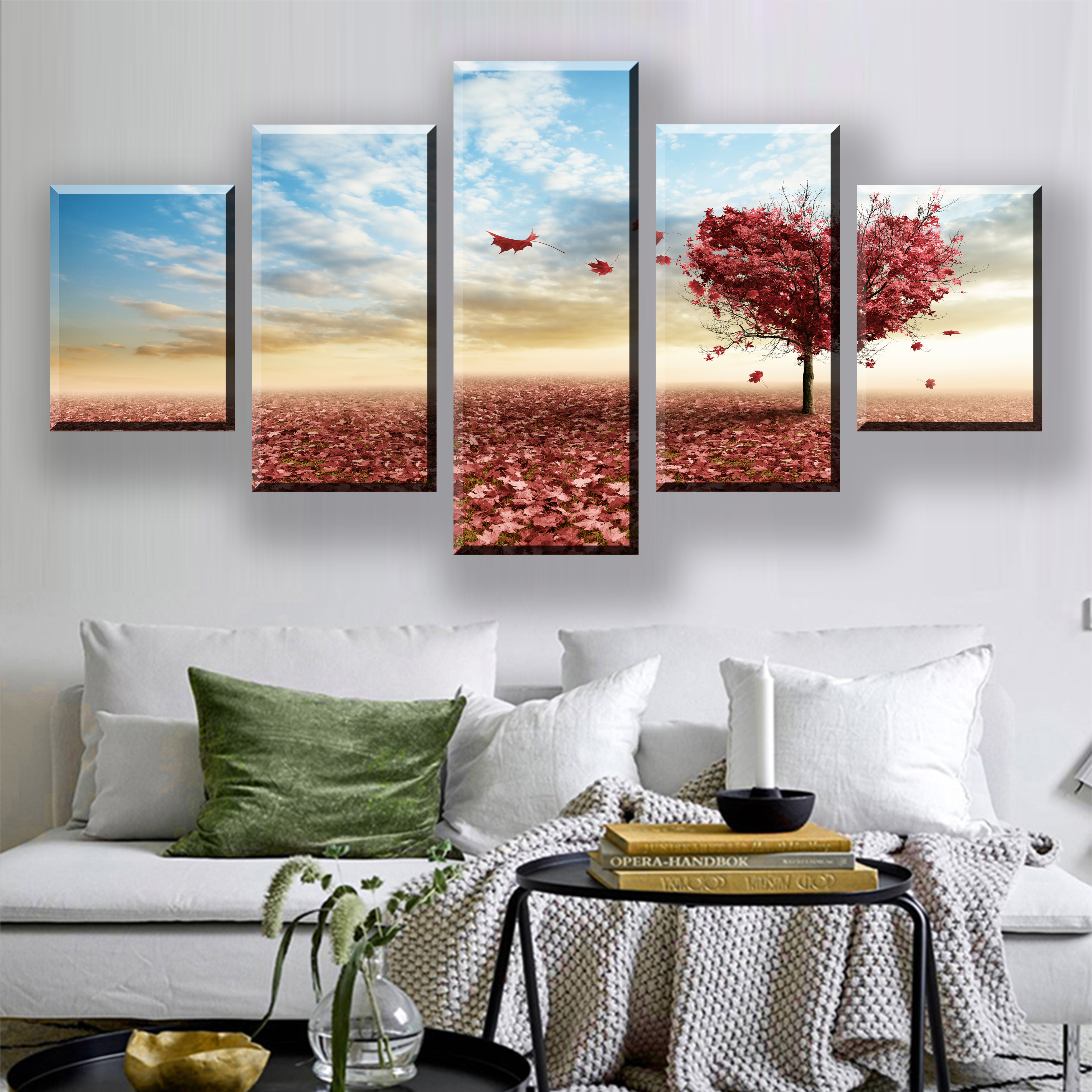 5 Pieces HD Print Painting Modern Wall Art Love Tree Sky Landscape Canvas Art For Home Decor Wall Pictures Framework Decoration in Painting Calligraphy from Home Garden