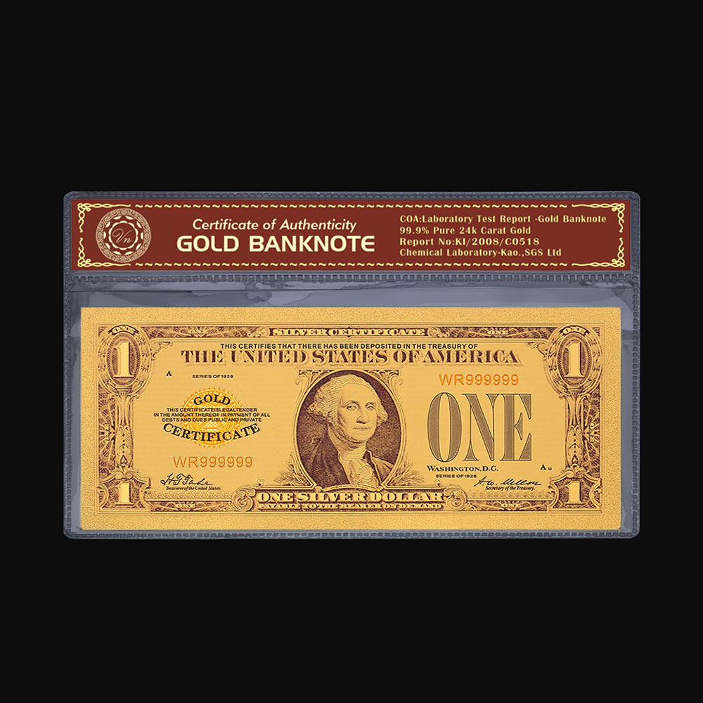 Tahun 1928 Usd 1 Emas Foil Kertas Usa Berlapis Emas Uang Kertas Palsu Uang Dolar Amerika Serikat Untuk Koleksi Uang Kertas Emas Aliexpress