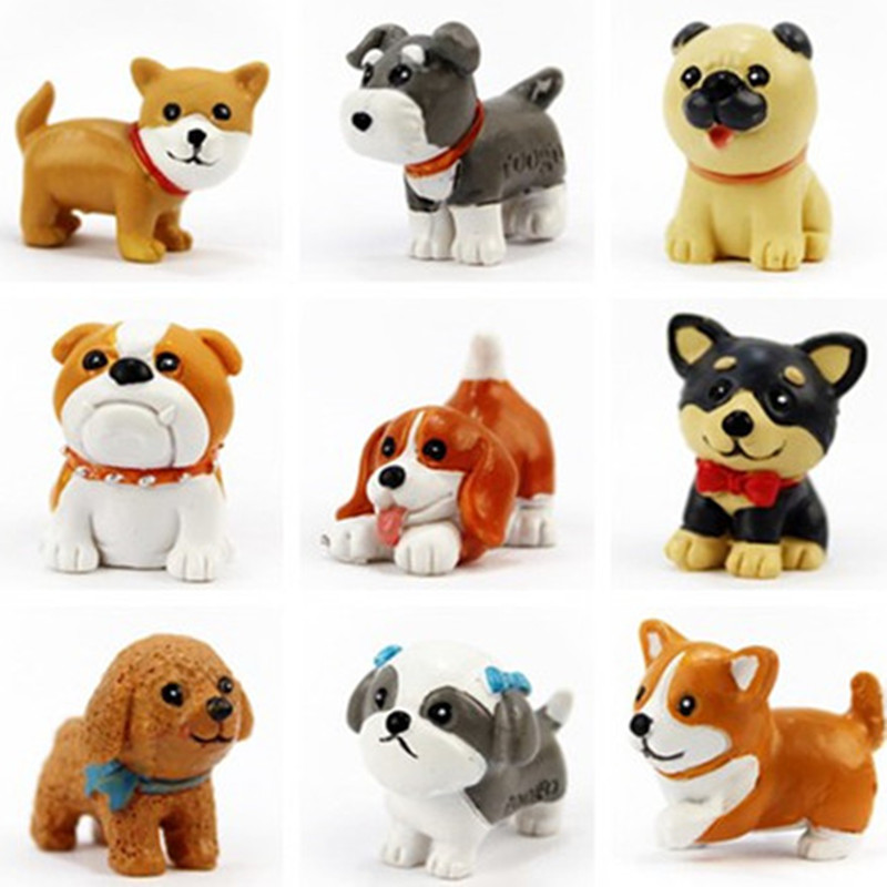 1 piece Cute Dog Pet puppy Mini Figures 1pc toy Bull dachshund Terrier Pug Corgi Lab cake car party office home decoration gift 12pcs set children kids toys gift mini figures toys little pet animal cat dog lps action figures