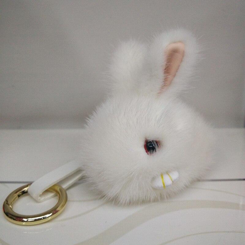 12cm Real Rabbit Fur Ball Keychain Rabbit Fur Pom Pom Plush Key Chain Keyring Men Women Pompom Keychain 3 Colors