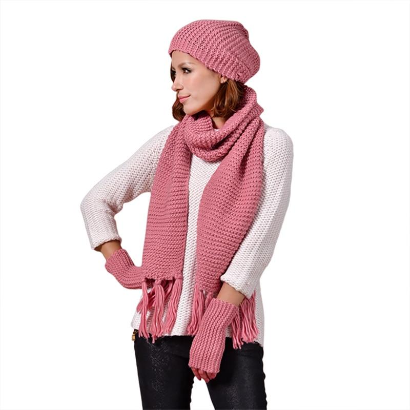 3PCS Hat Scarf Gloves Autumn Winter Trend Men Women With New Wool Hat Tassel Scarf Gloves Knitted Three-Piece