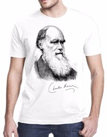 2017 Summer Men S Brand Clothing O Neck Charles Darwin Portrait Signature Evolution Science Casual Fitness
