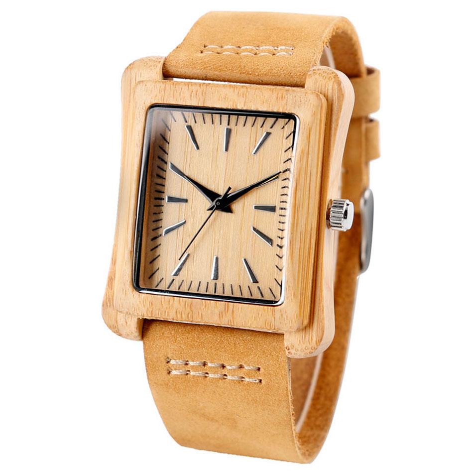 Minimalist Creative Wooden Watch Modern Mens Rectangle Dial Bamboo Leather Band Nature Wood Quartz Wrist Watch Reloj de madera (2)