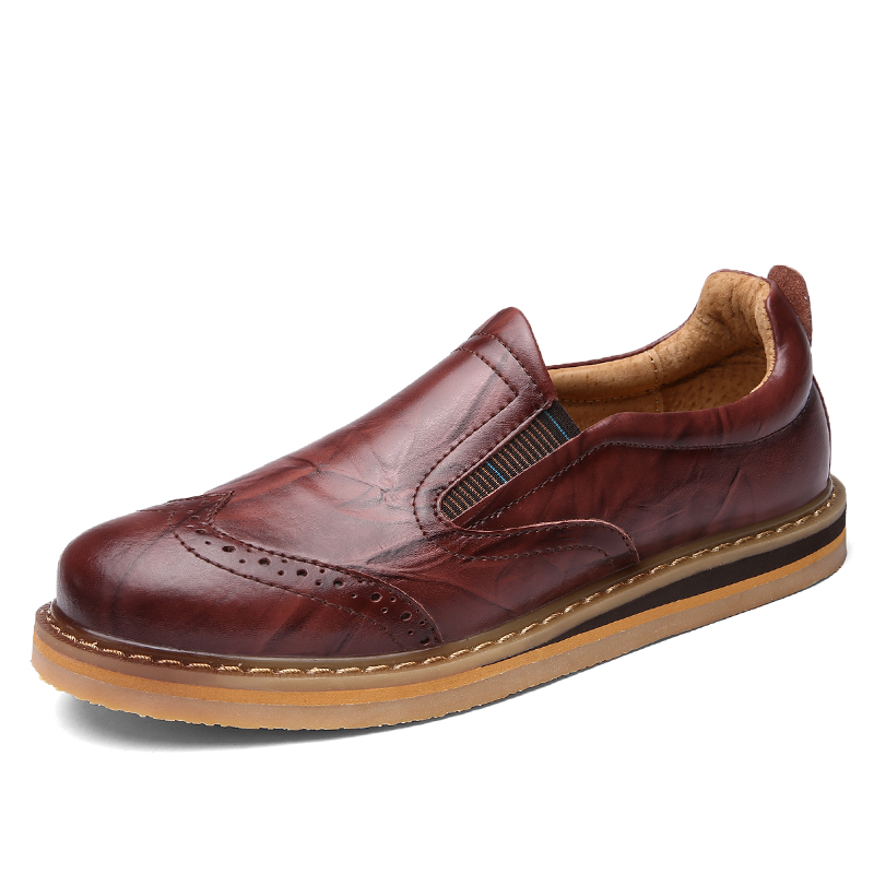 ФОТО 2017  Luxury Brand Genuine Leather Men Shoes Casual Spring Autumn Fashion Business Formal Dress Wedding Carved Flat Oxford