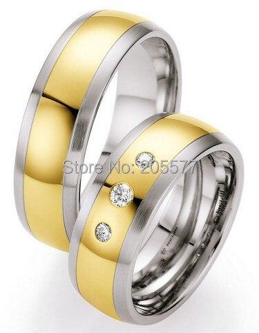 Bijoux de mode faits à la main faits sur commande tendance 2014 couleur or santé titane acier inoxydable anneaux de mariage ensembles pour femmes et hommes