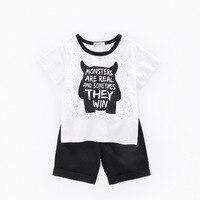 2019 New Kids Boys Clothing Set Cotton Cartoon Print Short Sleeve Tops +Pants 2PCS Suit infant Children Wear casual Outfit 3 10T