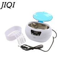 JIQI Digital Ultrasonic Cleaner Basket Jewelry Watches Dental manicure coins Cleaning Machine Mini Bath limpiador 35W 110V/220V