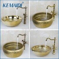 OUBONI New 2 Handles Swivel 360 Kitchen Tap Bathroom Sink Washbasin Ceramic Lavatory Sink Combine Set