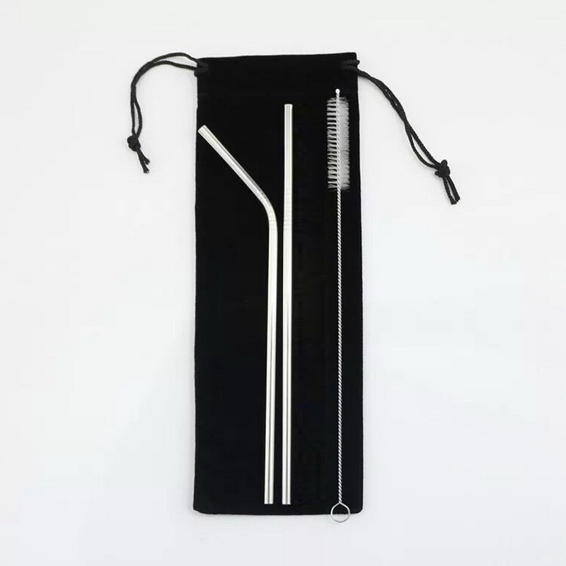 Stainless Steel 21 5cm Straight Bent Reusable Drinking Straws cleaning 200MM x 10MM brush Brushes black