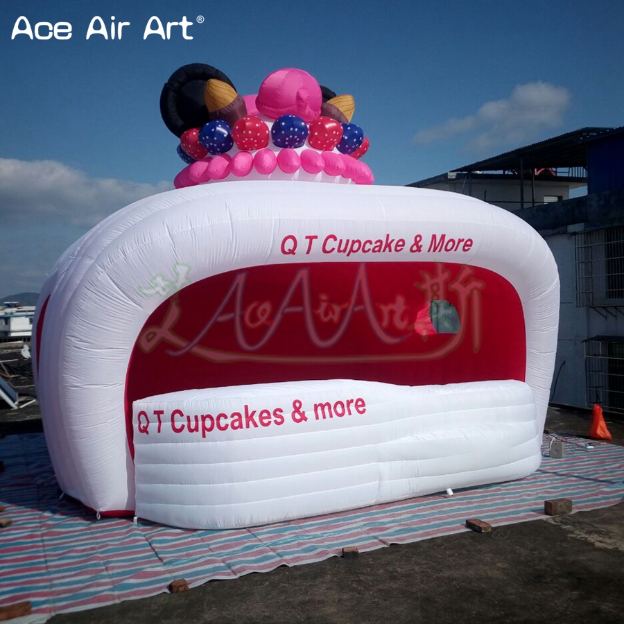 Customized inflatable sale stall station,idea ice cream stand kiosk fruit and drink concession tent with counter for promotion Термос