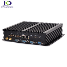 Kingdel Новый безвентиляторный Дизайн мини-компьютер промышленного ПК Barebone Windows 10 Core i3 4010U Dual LAN TV Box 6 com RS232 SSD HDD