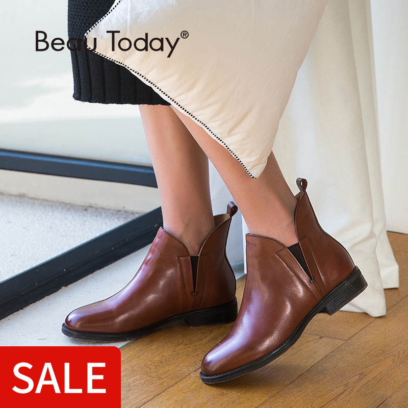 BeauToday Chelsea Boots Women Elastic Ankle Pig Suede Brogue