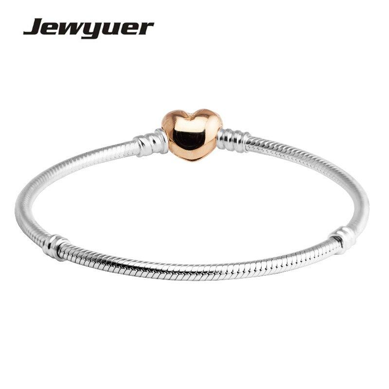925 Sterling Silber Armbänder Für Frauen Mit Rose Herz Verschluss Fit Silber Charms Armband Diy Memnon Memnon Schmuck Yl041