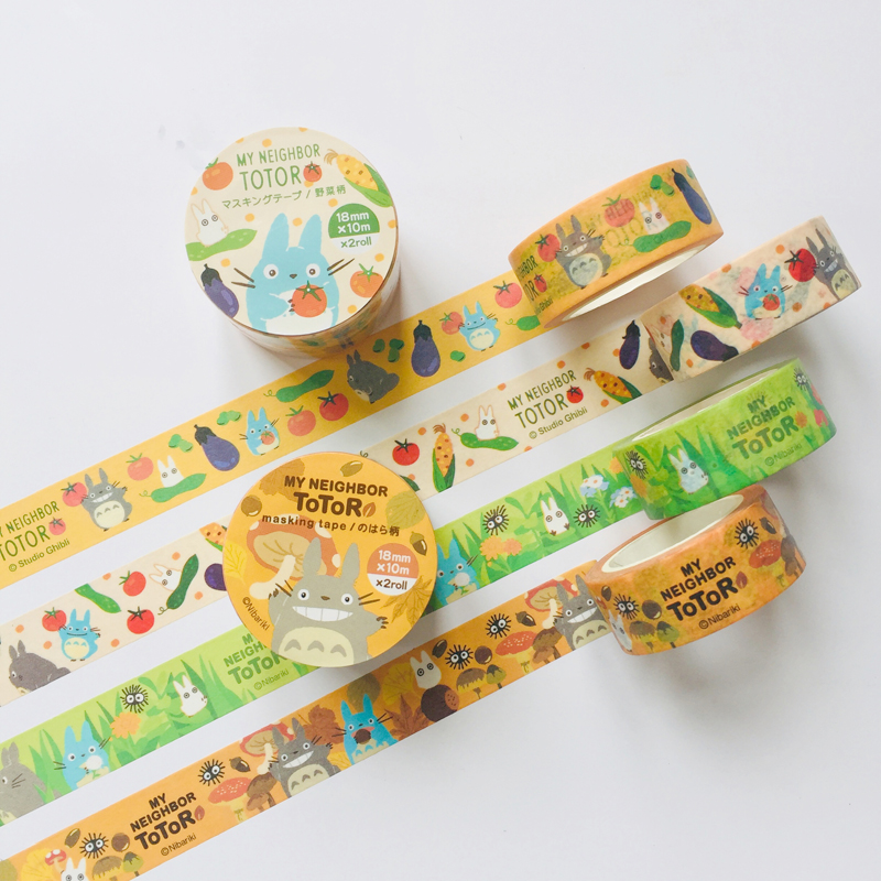 1.8cm*10m 2 Roll /Pack Totoro Masking Washi Tape Album Scrapbooking Label  Stick Decoration