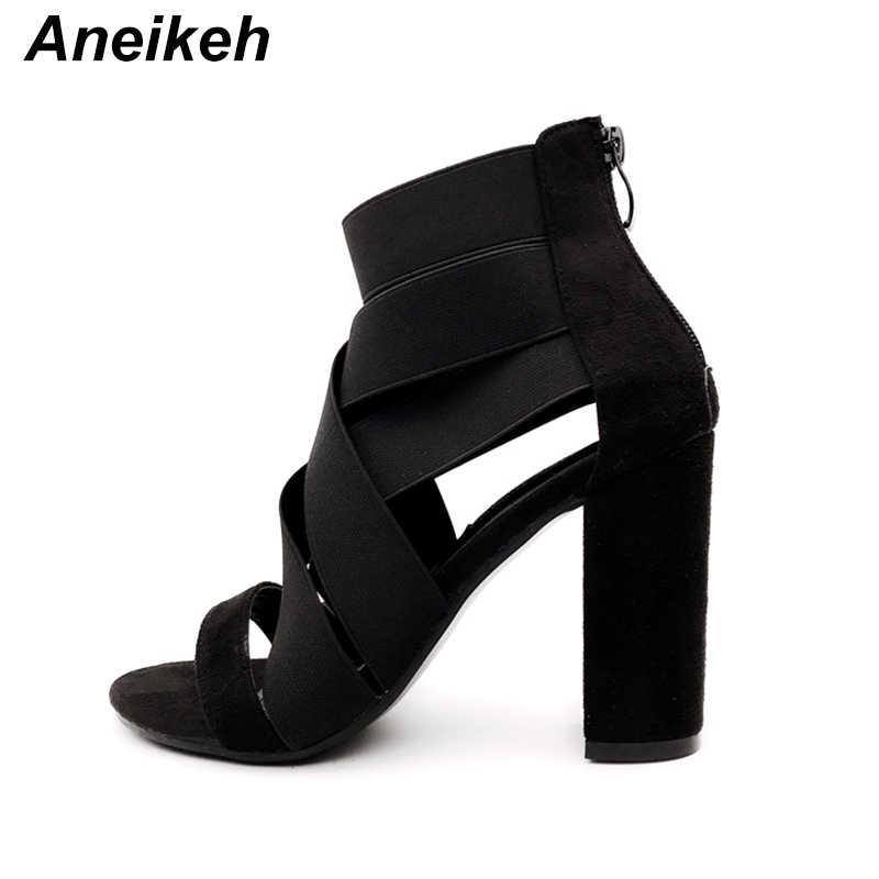 Aneikeh 2019 NEUE Gladiator Sandalen Stiefel Mode Frauen High Heels Open toe Ankle Strap Elastische band Stiefel Pumpen Schuhe Größe 35-40