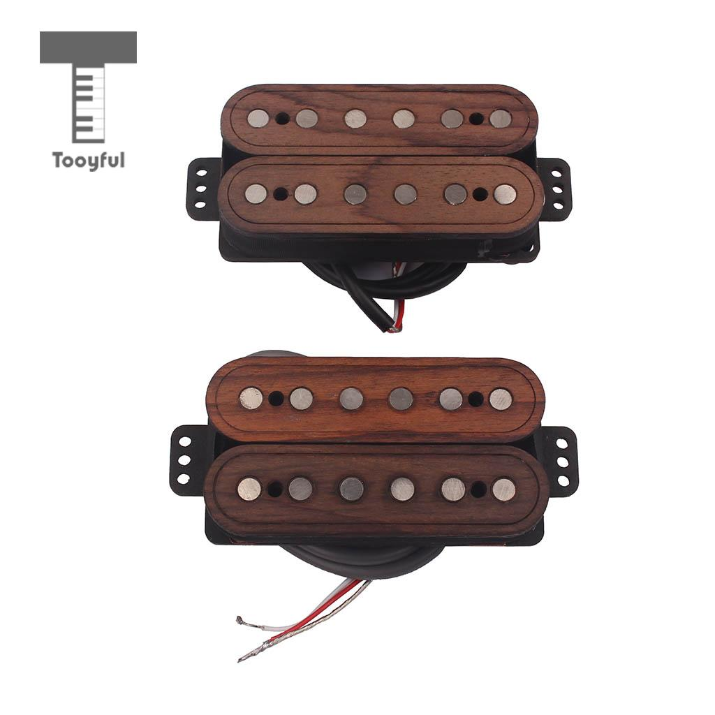 Tooyful Set of 2 Pieces Electric Guitar Humbucker Double Coils Pickup with Copper Wire Neck/ Bridge Parts kmise single coil pickup for electric guitar parts accessories bridge neck set black with chrome gold frame