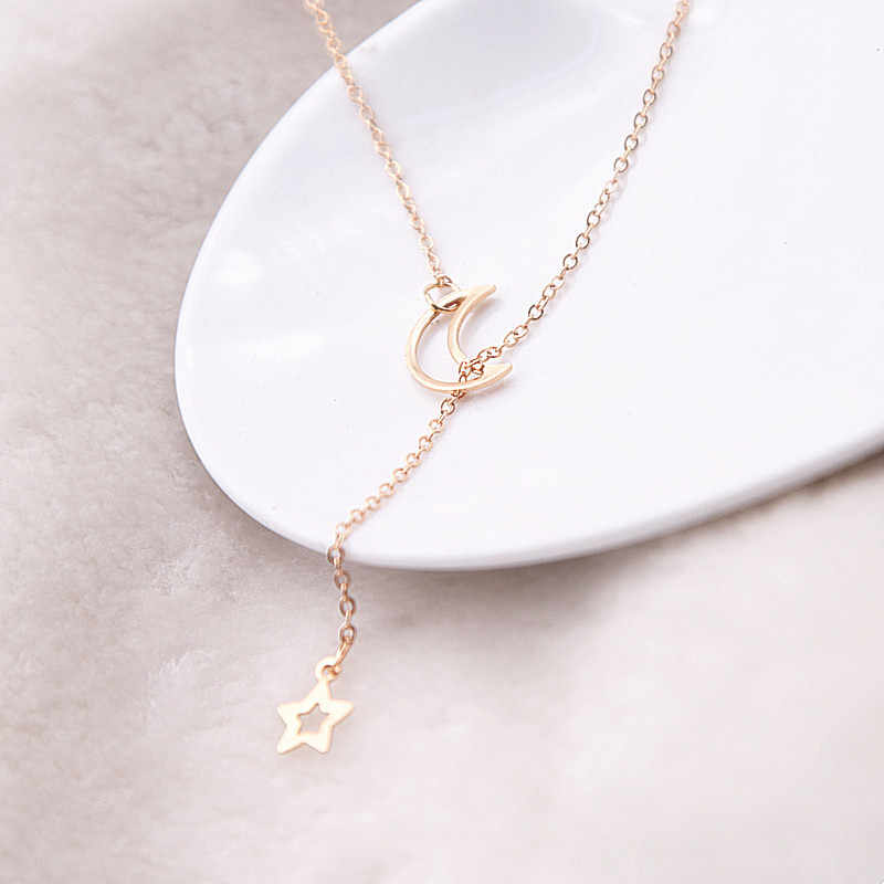 Lune étoile chaîne collier mode bijoux 2017 couleur or long pendentif simple collier pour femmes fille bijoux cadeau x13