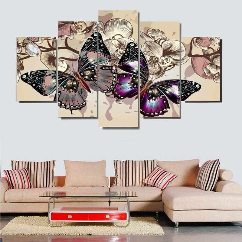 5 لوحات الفراشات والزهور الملصقات hd مطبوعة الطلاء قماش جميلة فراشة غرفة المعيشة الديكور جدار الفن صور