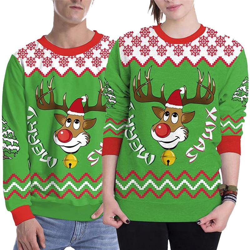 Women Men Autumn Winter Hoodies And Sweatshirts Women 3D Christmas Print Long Sleeve Pullover Couples Top Poleron Mujer 50Jul13