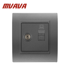 Free shipping MVAVA computer and television wall socket,Electric RJ45 Network+ TV Aerial Socket Wall Mount Coaxial Outlet plug