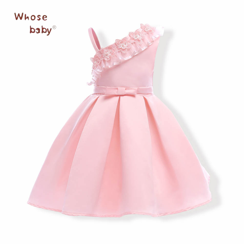 2017 New Party Girls Dress Flower Straps Children Christmas Ball Gown Princess Toddler Costume Wedding Kids Dresses For Girls new arrival hot sale toddler princess girls sleeveless ball gown costume latin show fashion formal dancing dress