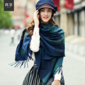 Lady Plaid Shawl Scarf Female Long Tassels Warm Wool Conditioning Wipes Women Fashion Wool Knitting Pashmina B-4622