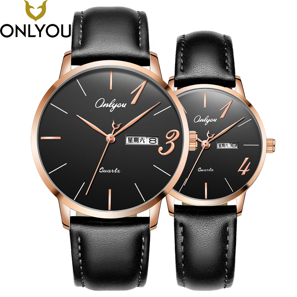 ONLYOU Men Watches Top Brand Luxury Women Fashion Casual Genuine Leather Wristwatch Best Gift For Lover Watch Ladies Clock onlyou women top brand fashion watch super slim quartz waterproof wristwatch females casual fabric gift watces wholesale