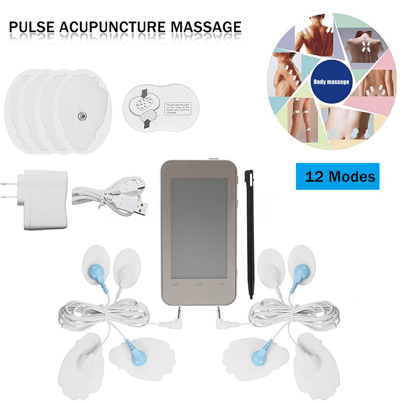 Dual Channel Electronic Digital Massager Touch Screen TENS Machine Muscle Stimulator Acupuncture Therapy Pain Pulse Massager 12 цена