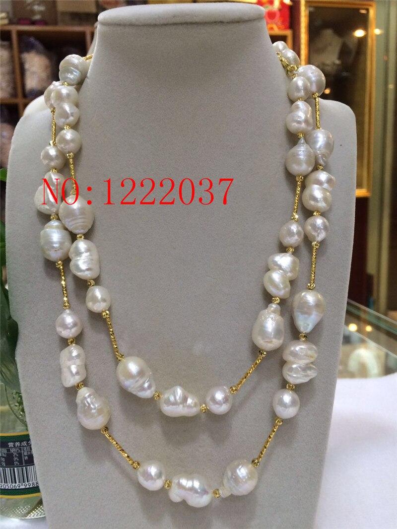 Nouveau 12 16 MM grand collier de perles baroques de forme irrégulière longue chaîne de chandail 40 pouces-in Couples from Bijoux et Accessoires    1