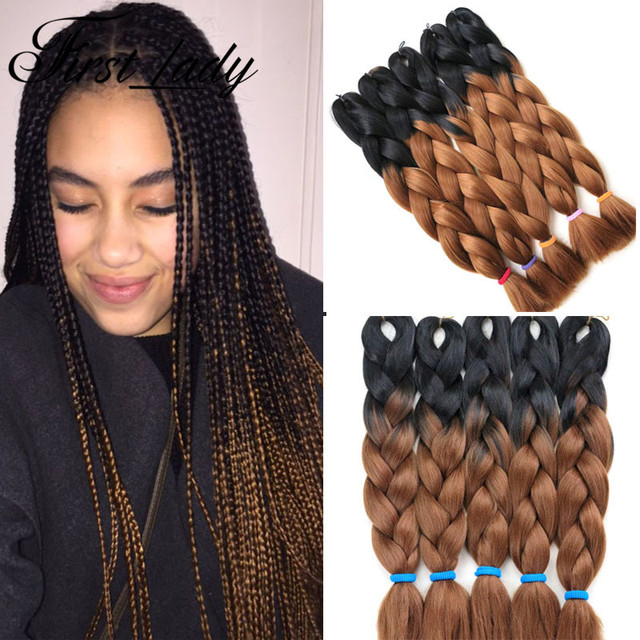 24inch Crochet Braid Hair Senegalese Twist Box Braids Ombre Two Tone Kanekalon Braiding Color