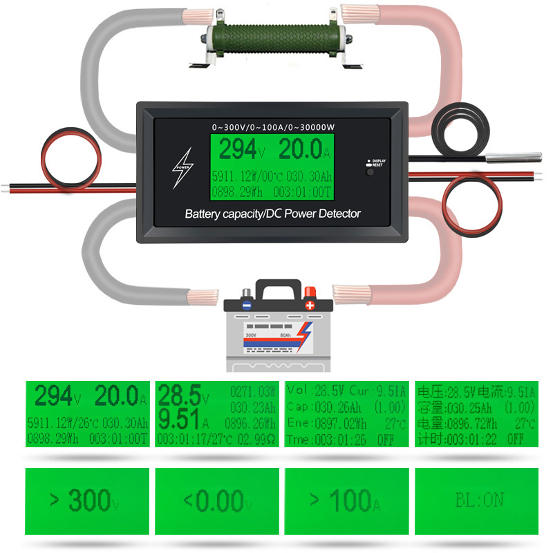 ATORCH DC 300 V 100A Accurate Energy Meter Potenza Tensione Corrente Voltmetro Amperometro Greem Retroilluminazione Funzione di Allarme di Sovraccarico interno