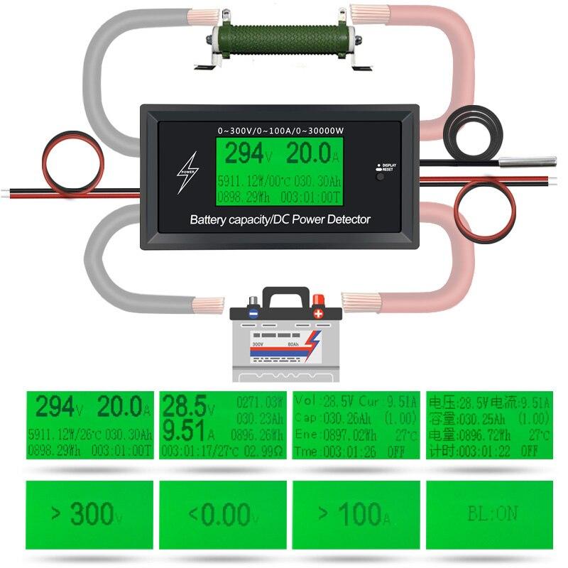 ATORCH DC 300V 100A Accurate Energy Meter Voltage Current Power Voltmeter Ammeter Greem Backlight Overload Alarm Function indoor