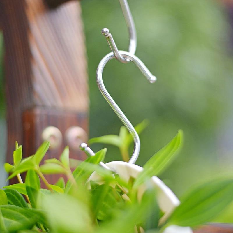 10pcs/Lot Portable S Shaped Hooks Stainless Steel Kitchen Hanging Hanger Storage Holder Flowerpot Organizer Home Garden Supplies-in Flower Pots & Planters from Home & Garden