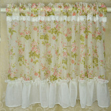 1 PC Yarn Sheer Tulle Curtains for Kitchen Curtain Window Coffee Short Floral Curtains Rural Dust Proof Stitched Up finished(China)