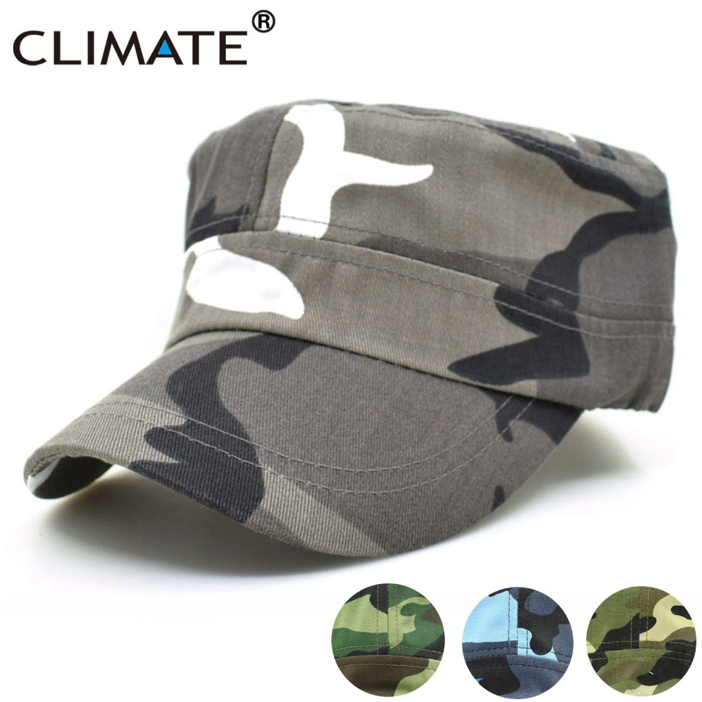 CLIMATE Men Camouflage Cap Military Army Cap Hat Hunting Cool Flat Top Caps No Logo Blank Camouflage Adult Adjustable Army Hat