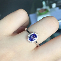 ZT Classic Women 4A Tanzanite Jewelry Female Rings 925 Sterling Silver White Or Rose Color Rings