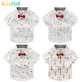 Jiuhehall 4 Types Summer New Design Baby Boys White Shirts Short Sleeve Kids Tops Cotton Children Bows Shirts CMB972