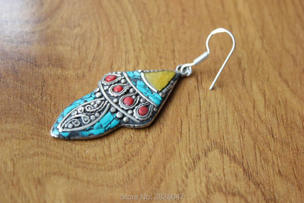 ER154 Beautiful Tibetan Silver Colorful Stone Flower Earrings Bohemia Nepal Jewelry Girls Earrings