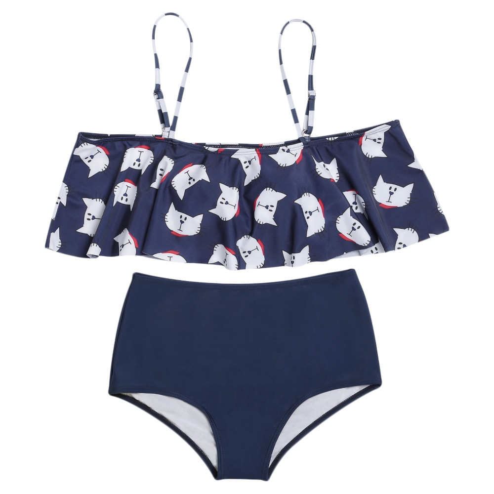 Sexy Off The Shoulder Flouncing Cats Pattern Print High Waist Bikini Set Swimsuit Women Padded Bathing Suit Beachwear Biquini