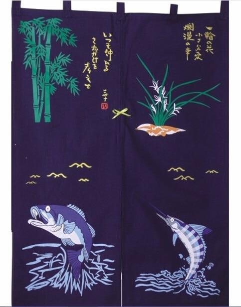 (Customized Size Accept) Korea/Japan/China Sushi Restaurant Kitchen Hanging Doorway Split Cloth Curtain-SUSHI