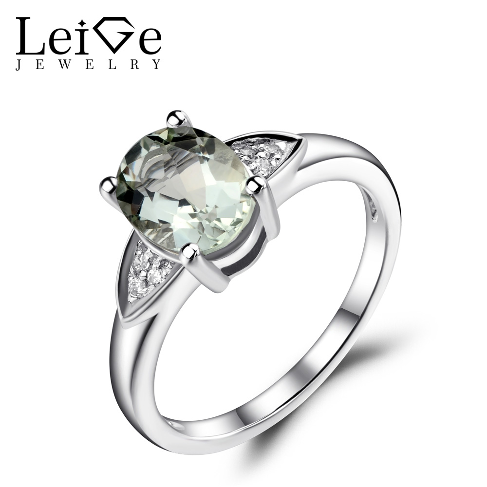 Leige Jewelry Oval Shaped Engagement Rings for Women Natural Green Amethyst Ring 925 Sterling Silver Gemstone Fine Jewelry leige jewelry emerald engagement rings for women pear shaped ring sterling silver 925 fine jewelry green gemstone may birthstone