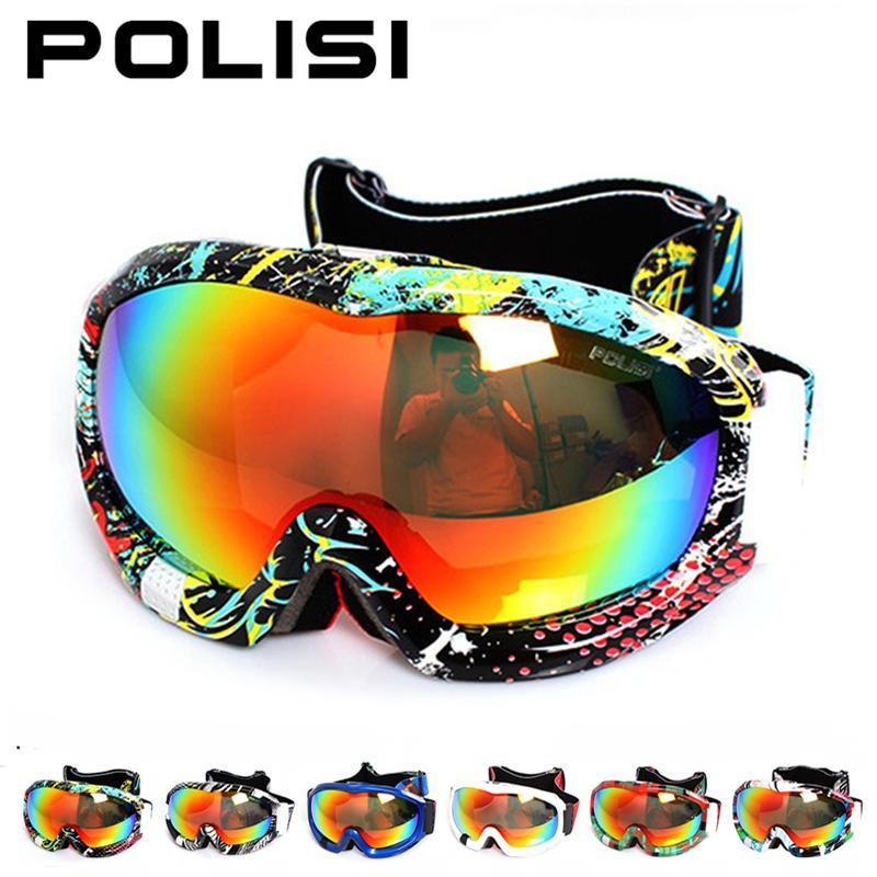 POLISI professionnel Ski Snowboard lunettes motoneige Skate neige lunettes polarisées Anti-buée lentille Ski alpinisme lunettes