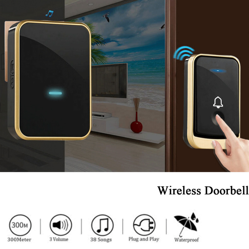 Wireless Doorbell Battery Operated Door Bell Remote Button+Plug In Receivers