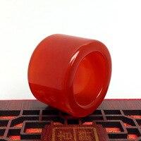 CHINA FOLK Traditional agate carving- Natural agate China carving Thumb ring #2315