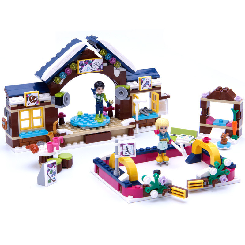 328pcs Friends Girl Series Ski Snow Resort Skating Rink Building Blocks Kit Legoings Toys Gifts XD289