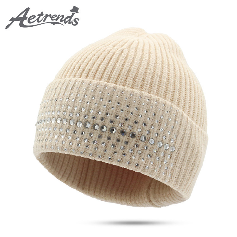 [AETRENDS] 2017 New Winter Beanie Hats for Women Wool Knitted Caps Warm Beanies Z-5973 2016 new beautiful colorful ball warm winter beanies women caps casual sweet knitted hats for women outdoor travel free shipping