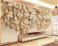 Beibehang Custom photo wallpaper 3d living room TV sofa Background wall Embossed flower tree leaves large mural 3d wallpaper beibehang custom wallpaper mural 3d blue flower hotel living room wall 3d wallpaper wall sticker wallpapers for living room