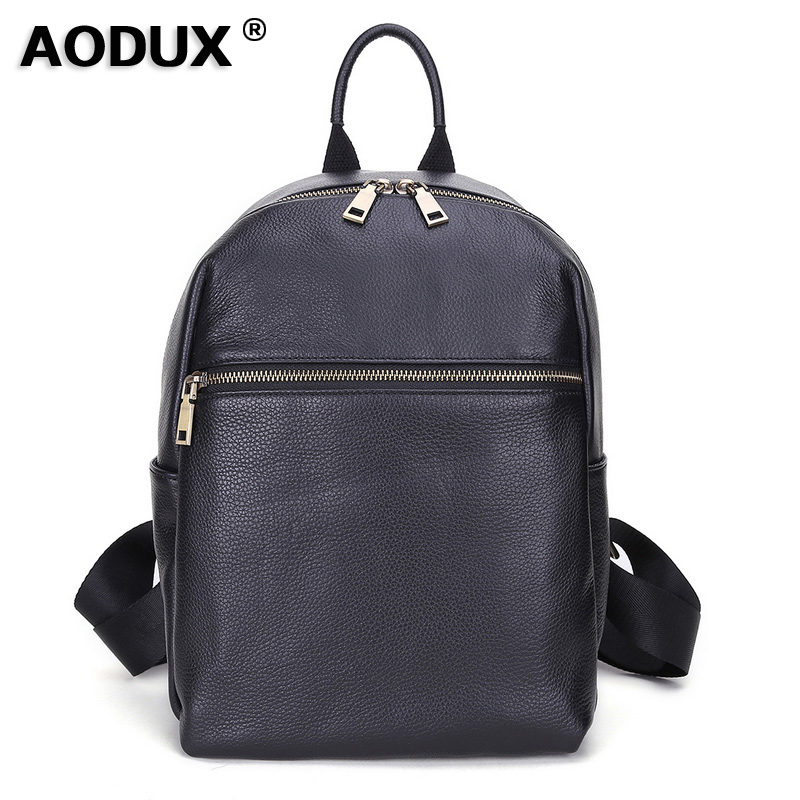 AODUX Italian 100 Genuine Cow Leather Calfskin Women School Backpack Top Layer Cow Leather Female Shoulder