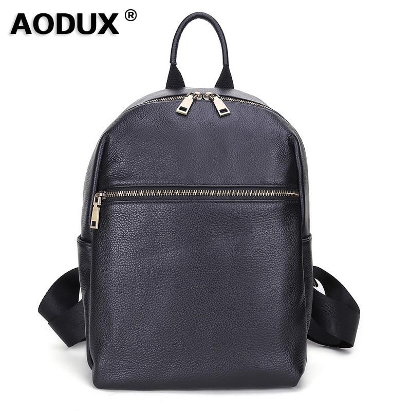 Bagaj ve Çantalar'ten Sırt Çantaları'de AODUX İtalyan 100% Hakiki Inek Deri Dana Derisi Kadın okul sırt çantası Üst Katman Inek Deri Kadın omuzdan askili çanta Bayanlar Sırt Çantaları'da  Grup 1