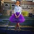 Real Photo 2016 Пачка Фиолетовый Тюль Юбки Миди юбка Женщины Fashion Party 60 см Длинные Saias femininas Плюс размер